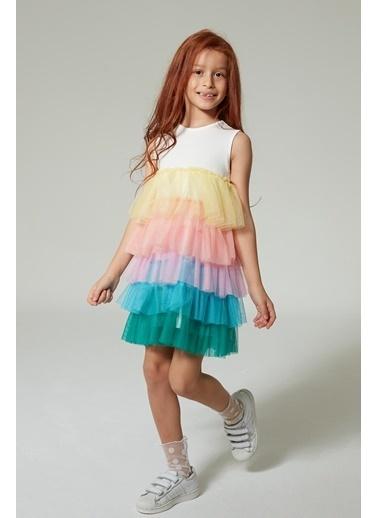 Colorinas Rainbow Tütü Elbise Kısa Kol Beyaz Beyaz